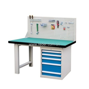 steel workbench with drawers and bench with back panel