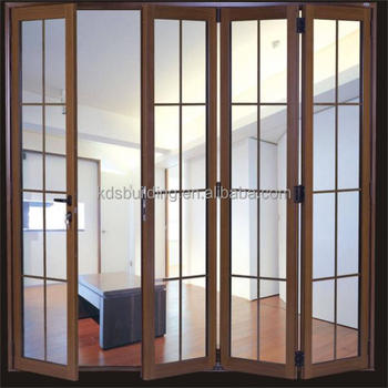 wood colour aluminum folding door with grild buy glass kitchen
