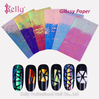 3D Magic Mirror Effected Nail Glass Foil Pieced Adhesive Stickers For Nail Art