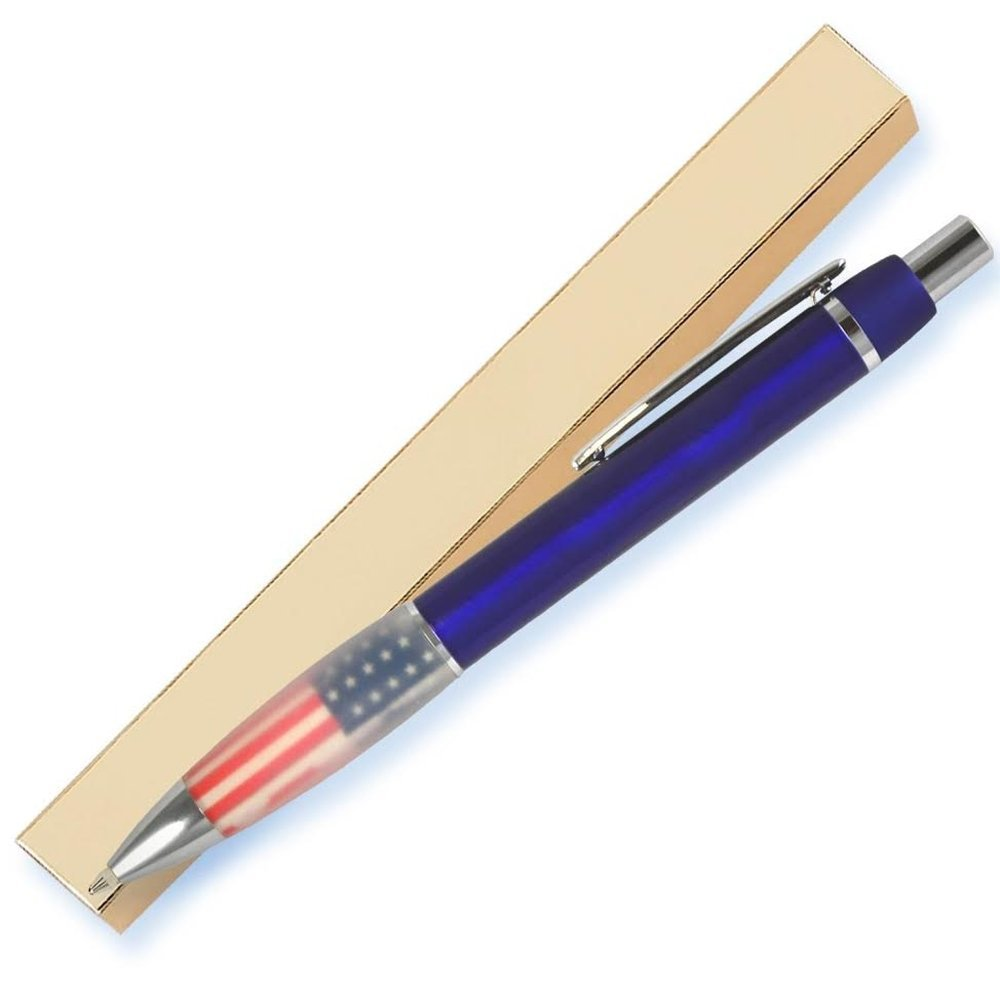 Blue metallic pen, silver accents, patriotic flag grip. Premium Metal Ballpoint Pens, Black Ink Smooth Writing, Comfort Size to Write, Office & Holiday & Business Gifts (6 Pens with 6 Gold Gift Boxes)