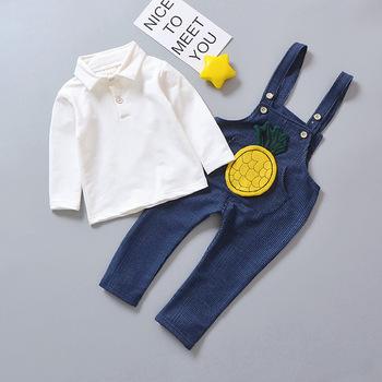 392d4b212 baby clothes set Children Clothing Sets Kids Girls Cartoon Pineapple  T-Shirts+Strap Pants
