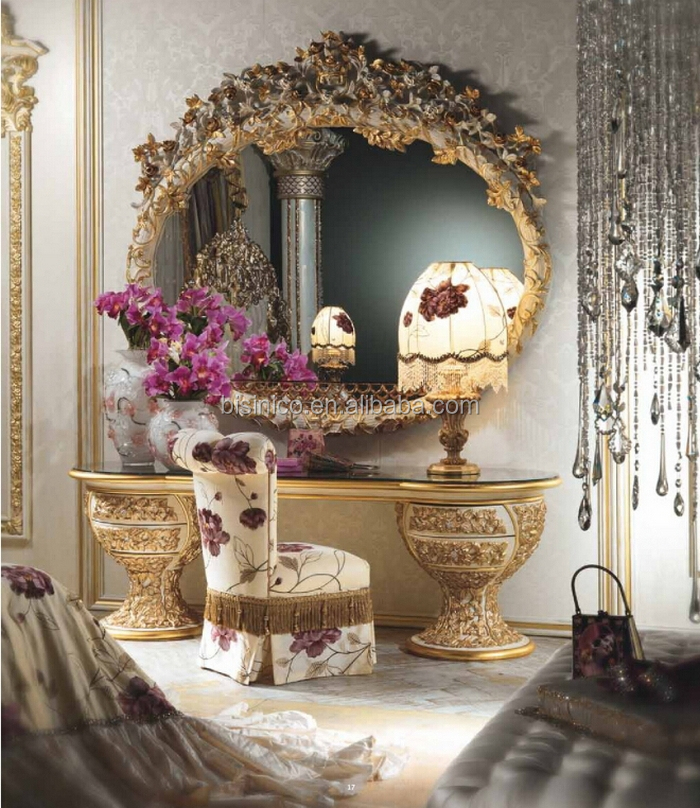 Luxury Brand New Bedroom Furniture Golden Design Glass Top Marquetry Inlay Dressing Table Dresser