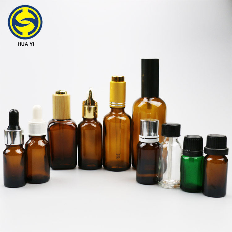 5ml 10ml 15ml 20ml 30ml 50ml 100ml Amber empty essential oil glass bottle with childproof plastic Aluminum cap