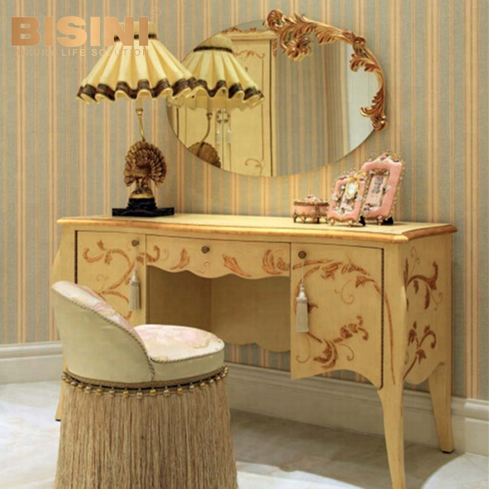 Bisini Luxury French Kids Hand Drawing Wooden Antique Vanity
