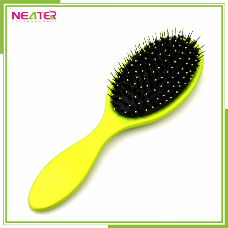 Cheap high quality boar bristle silicone cover custom plastic hair brush