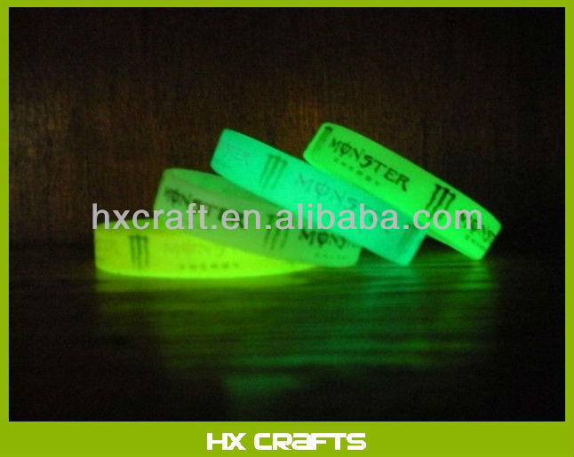 Glow In the Dark custom design Silicone Bracelet glow wristband