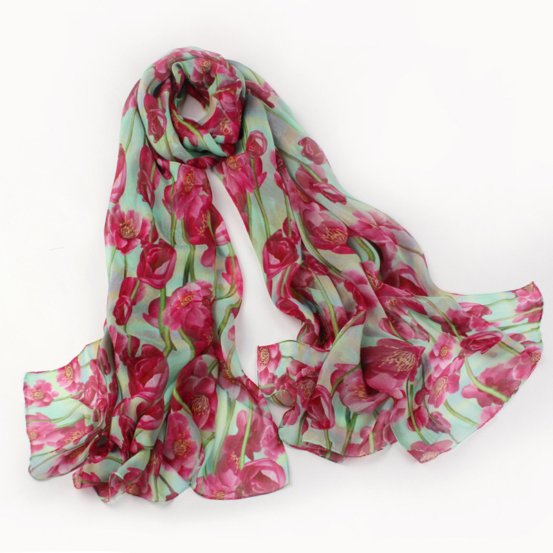Free Shipping 2015 Fashion Women Long Silk Scarf Red Floral Printed Hijab Accessories 100% Silk Shawl Scarves 175*110cm SS0008