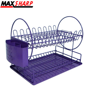 2 Tier Wire Dish Rack with Plastic Cultery Purple