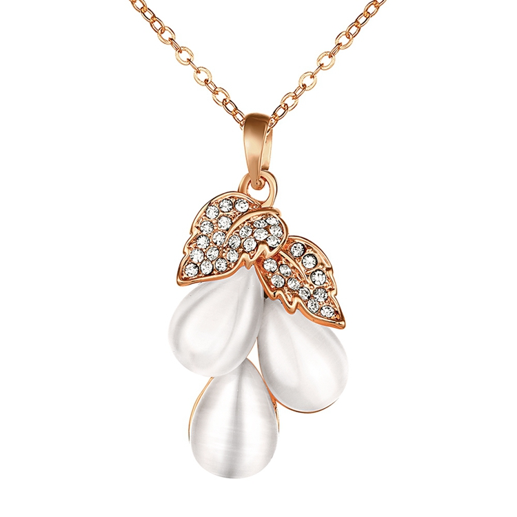 Sweet Flowers Design Rose Gold Plated Elegant Cat Eye Stone Lady Pendant Czech Necklace