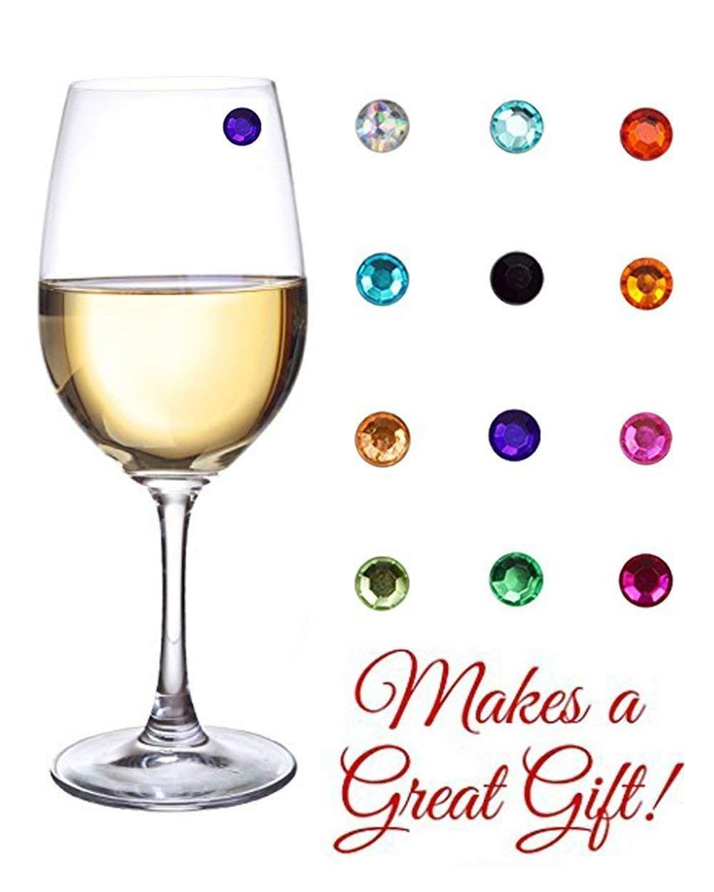MODAR Elegant Multicolor Crystal Magnetic Wine Glass Charms - Drink Markers for Wine, Champagne, Beer and Cocktail Glasses (Set of 12) - Box Included for Storage or Gifting