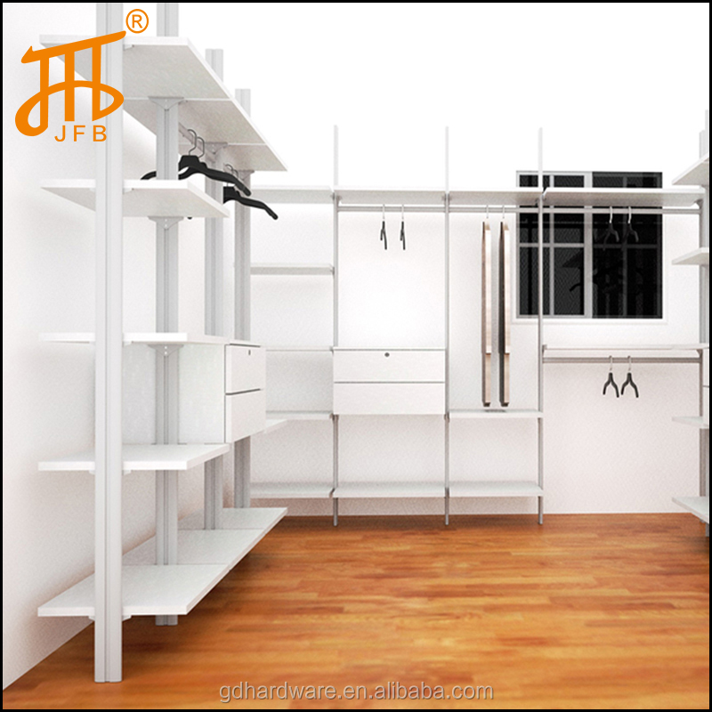 Customized pole system diy built in wardrobes, closet shelving system Aluminium pole system Open wardrobe walk in wardrobe