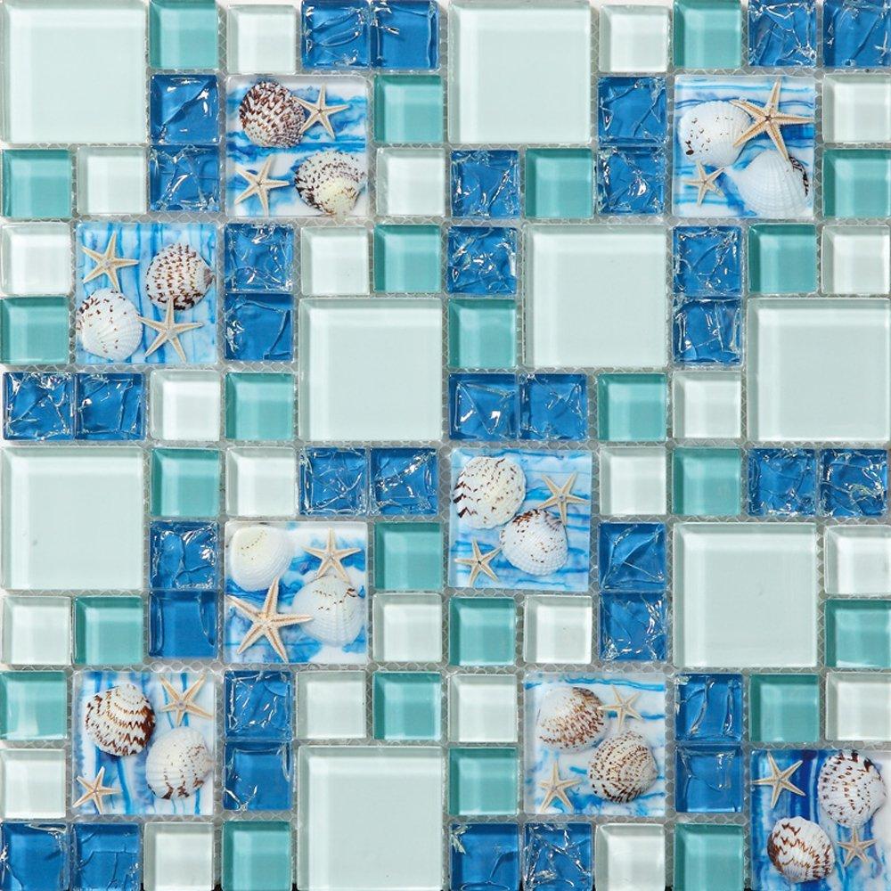 Get Quotations Tst Mosaic Tiles Gl Conch Beach Style Sea Blue Tile Mosaics Wall Art