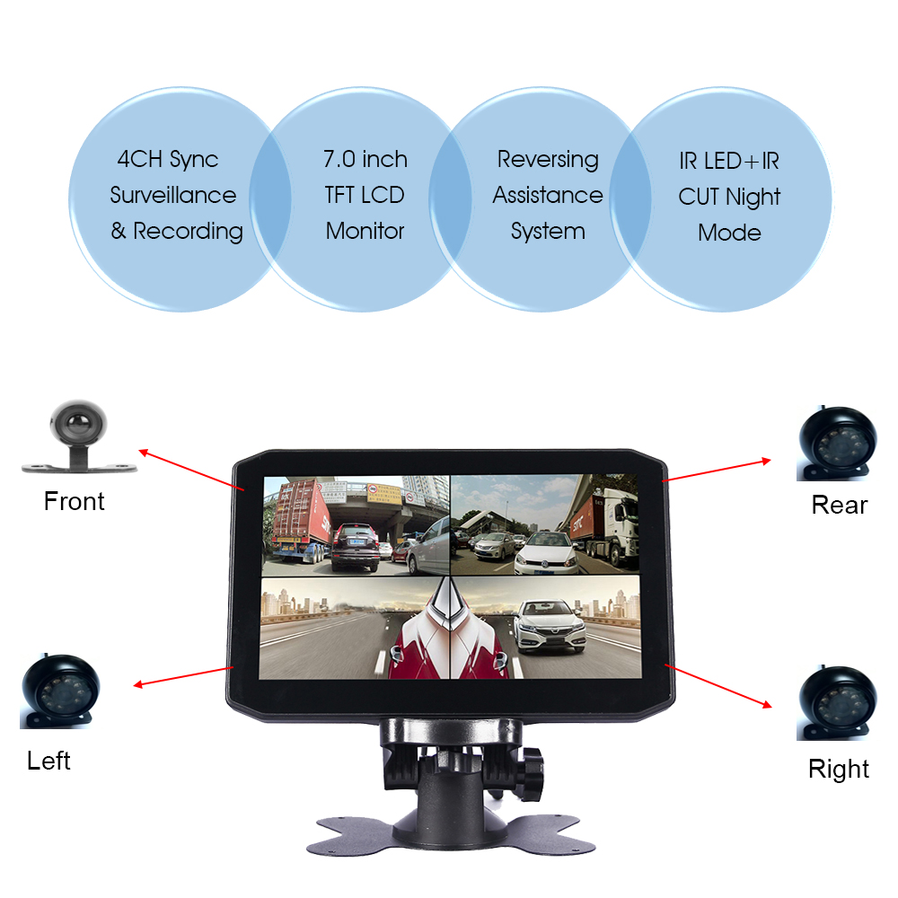 front side and rear view 480p resolution 7.0 inch screen safe monitor for Truck driver support emergency recording