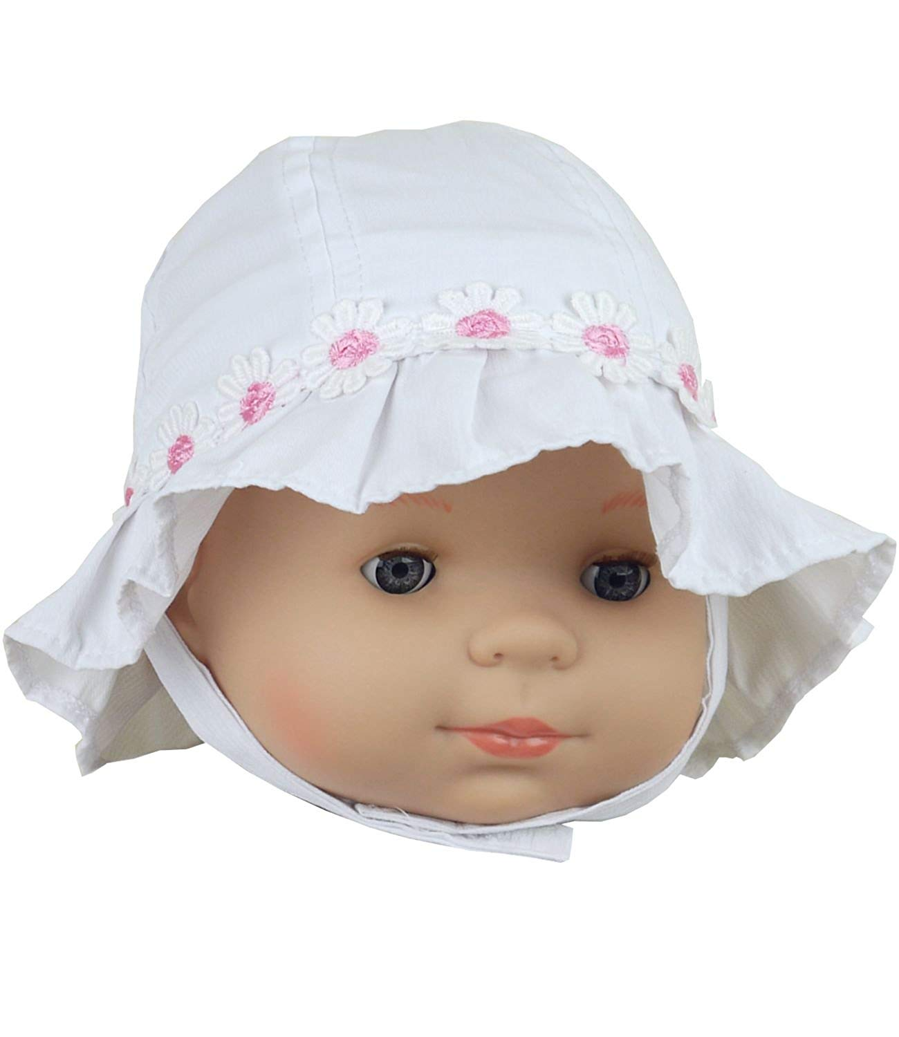 BabyPrem Baby Bucket Hat Girl's Daisy Chain Summer Cotton Clothes Pink White
