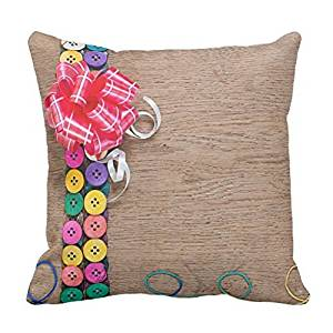 Merry Christmas Gift Custom Personalized Pillowcase DIY Candy Colored Buttons (12) Theme Zippered Square Pillowcase Christmas Decoration, 16 X 16-Inch