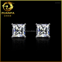 US market best selling pin back 925 sterling silver square cubic zirconia stud earrings
