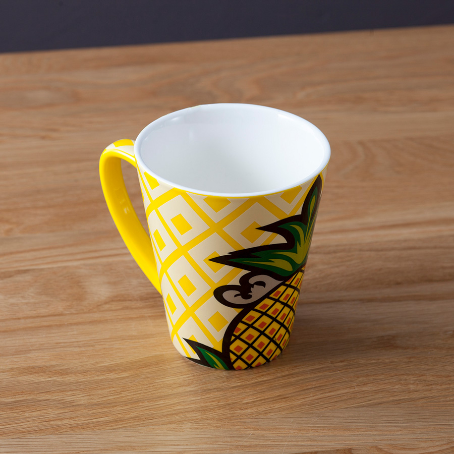 Summer cool porcelain glazed printing yellow cup coffee ice tea cup ceramic pineapple mug