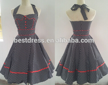 2014 High Quality Halterneck Swing 50's pinup Vintage Jive Polka Dots Rockabilly Sexy Fancy Party Dress