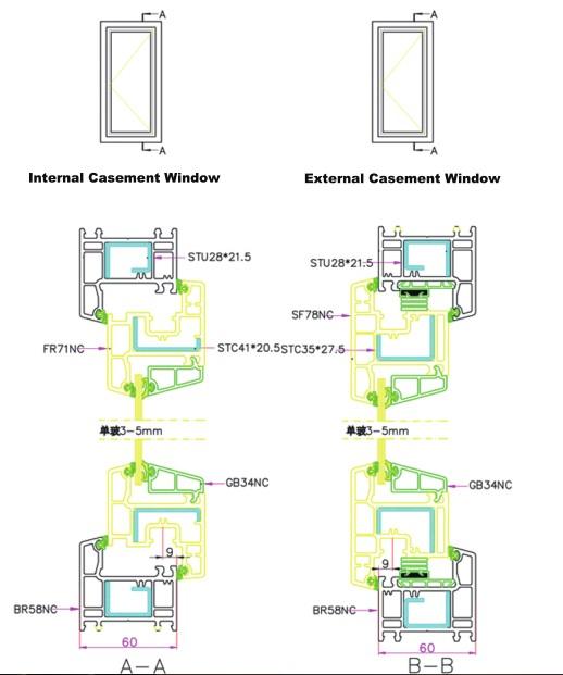 Pvc Window Section : Conch casement upvc profiles buy