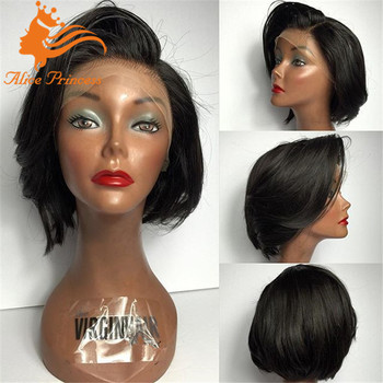 10 Inch Brazilian Hair Lace Front Wig With Bangs Straight Short Cut Bob Human Hair Wigs Bob Wig Lace Front Buy Human Hair Lace Front Wigs With