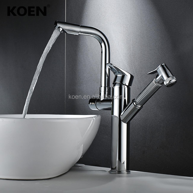 China Sanitary Ware multi function double lever brass pull out kitchen faucet