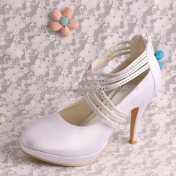 b4d9734590934 (21 ألوان) خمر أحذية عالية الكعب الزفاف الأبيض