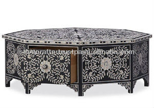 Indian U0026 Moroccan Style Camel Bone Inlay Coffee Table With Drawers  Furniture (Bone U0026 Mother