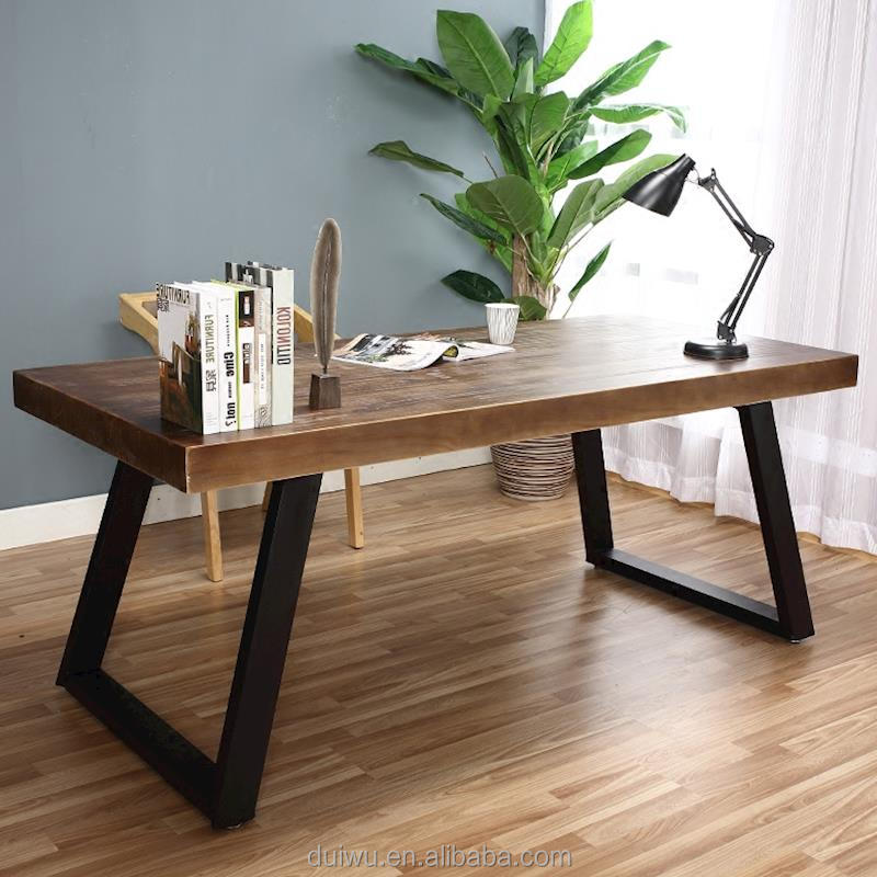Wholesale foshan custom office simple design 4 thick solid wood desktop table