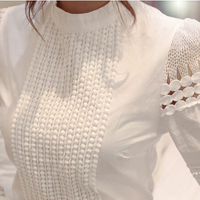 New Women Blouses Slim Bottoming Long-sleeve White Shirt Lace Hook Flower Hollow Plus Size S-5XL