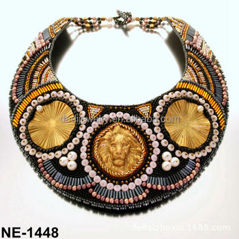 82c5f5e58c10c8 Charm Lion Beaded Collar Necklace Charm Necklace Modern Tribal Necklace