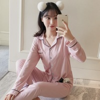 Lady sleeping 100% polyester women pajamas long sleeve couples plain cotton men pajama China wholesale casual home wear