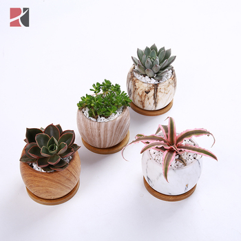 set of 4 wholesale new design ceramic marble design succulent planter pots for plant