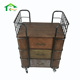 Wood Corner Movable Iron Metal Plant Stand 3 Drawer Wooden Cabinet