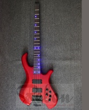 Weifang Rebon 4 string basso elettrico senza testa <span class=keywords><strong>chitarra</strong></span> con la luce del led dot inlay in colore rosso
