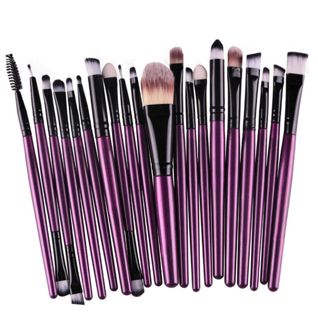 AMA(TM) 20 pcs/set Makeup Brush Set tools Make-up Toiletry Kit Wool Make Up Brush Set (Purple )