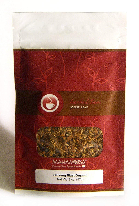 Mahamosa Ginseng Blast Organic Tea 2 oz, Herbal Herb Tea Blend (with red ginseng, cinnamon, orange peel, star anise, ginger, licorice root, black pepper, cinnamon, mandarin orange)