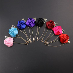 Fashion Multicolor available men brooch rose flower lapel pin with chain for men suits wholesale