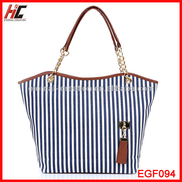 Made In China Alibaba 2013 Women's Handbag Stripe Canvas Bag Chain Tassel Hangings Handbag Wholesale Fashion Bags In Philippines
