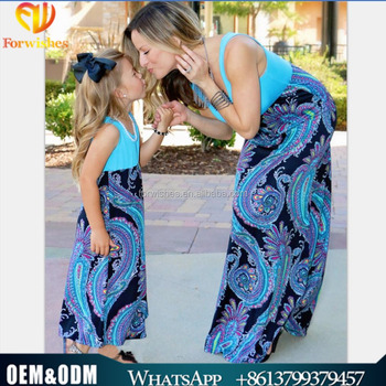 daea816103c1 2017 Wholesale summer boutique mommy and me sleeveless cotton maxi dress  mother daughter muslim dress