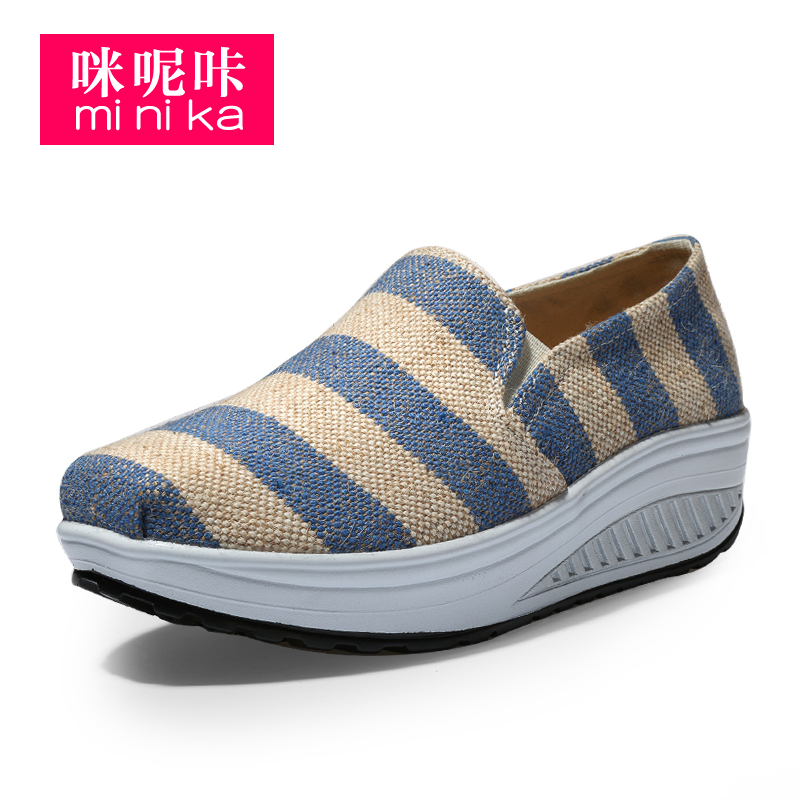 Canvas sneakers women high wedge shoes leisure sports shoes