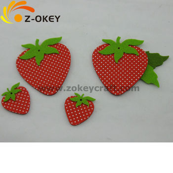 Strawberry shape felt decorations laser cut felt coaster - How to slice strawberries for decoration ...