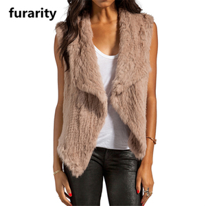 SF0048 Australia Best Selling Top Quality Knitted Real Rabbit Fur Vest/ 1*1 knit Australia Fashion Fur Coat