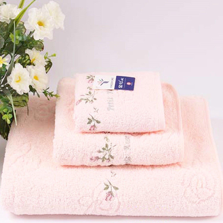 get quotations hiibaby 3 pcs set kingshore pinkyellowblue 100 cotton flower - Pink Bathroom Towels