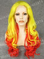 Wholesale Cheap Top Grade Quality Synthetic Hair Lace Front Wigs Yellow and Red Long 26inch Wave Drag Queen Wig
