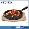 Non-stick cast iron cookware fry pan/ wok pan with wooden handle/ skillet