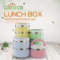 Stackable thermos stainless steel round shape 4 layers food carrier lunch box with handle
