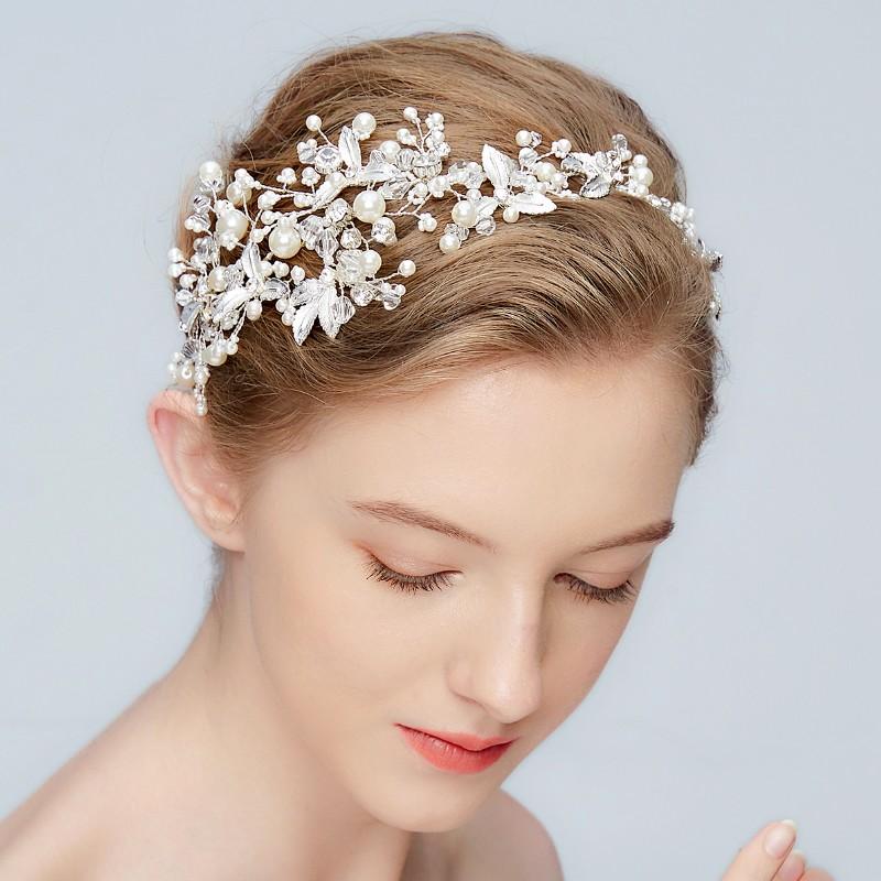 Buatan Tangan Headpiece Pengantin Disesuaikan Diy Aksesoris Rambut Daun Bunga Pernikahan Mutiara Bando dengan Pita