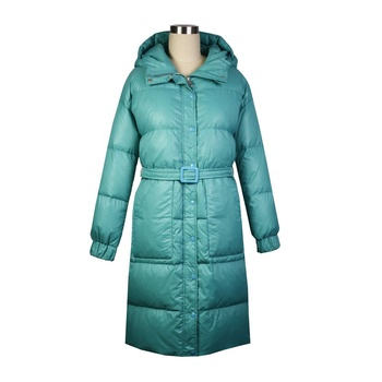 Winter Womens Warm Blue Long Style Duck Down Coat With Belt Hood