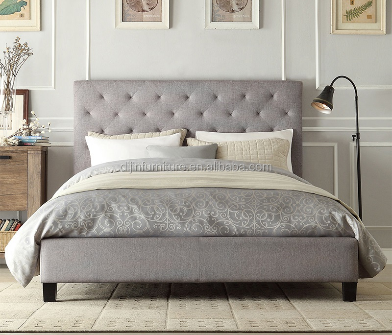 Modern home furniture Chesterfield Design King size Fabric Bedframe
