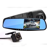 4.3 inch Dual Lens Car DVR Rear View Camera Full HD 1080P Car Camera Rearview Mirror Detector Registrator Night Vision Dashcam